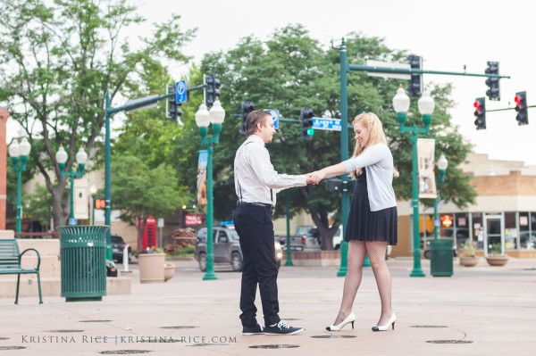 Olde Town Arvada Vintage Great Gatsby Engagement Session